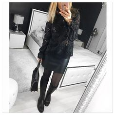 Black Lace  and leather ✔️. ▫️blouse @vilaglobal sur @monshowroom .▫️jupe @pimkie ▫️bottes @burberry . ▫️sac @zara .  Bon week-end @instagram .  #ootd#outfit#outfitoftheday#cuir#leather#lace#blacklace#dentelle#fashiongram#mode#instamode#instadaily#instalook#jupe#blouse#black#allblack#bottes#dailyoutfit#dailylook#details#detailsoftheday#zoom#fromwhereistand#stylepost#instalook#look#mystyle#collant#tenuedujour#whatiwore