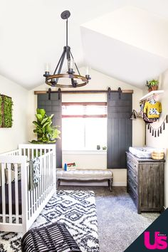 Barn door modern gender neutral nursery