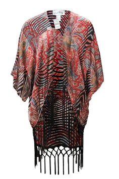 Kimono jacket in shades of red, black, and tan. High-low hem with cape sleeves. Fringe Print Kimono by Joseph Ribkoff. Clothing - Jackets, Coats & Blazers - Kimonos & Wraps Vancouver, Canada