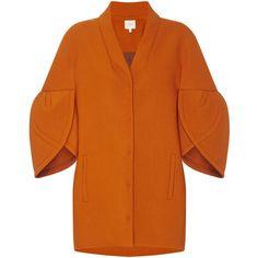 DELPOZO Cocoon Coat ❤ liked on Polyvore featuring outerwear, coats, rust coat, tulip coat, 3/4 sleeve coat, delpozo and orange coat