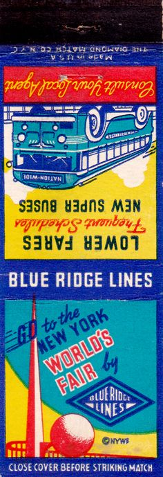 1939 new york world's fair matchbook cover blue ridge lines