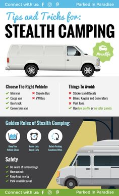 Stealth Camping Tips For Van Life In The City Tips and tricks for stealth van living in a campervan conversion. There are a lot of good hacks in here for finding places to park, how to design your kitchen and bathroom layout to stay stealth. Camping Hacks, Truck Camping, Camping Ideas, Tent Camping, Rv Hacks, Camping Stuff, Camping Cooking, Camping Supplies, Camping Outdoors
