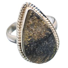 Rough Pyrite In Magnetite (healer's Gold) 925 Sterling Silver Ring Size 8.75 RING676987