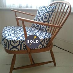 Image of Blonde Ercol Windsor Chair in 'Copenhagen' Holli Zollinger Spoonflower fabric