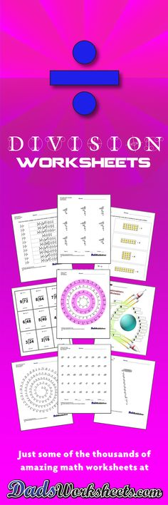 Printable Division Worksheets with Answer Keys! Timed facts tests, long division, decimals and more! Math Division Worksheets, Free Printable Math Worksheets, Math Games For Kids, Math Activities, Math Fractions, Multiplication, Maths, Dividing Fractions, Equivalent Fractions