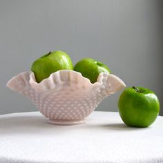 Pink Milk Glass Bowl by Fenton with Hobnail Pattern, 1950s