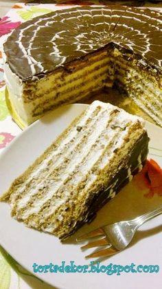 Hunyadi torta - Hozzávalók 22 cm-es tortához:  Tészta:7 tojás 10 dkg porcukor 25 dkg gesztenyemassza 1 bourbon vaníliás cukor 2 evőkanál sütőrum +7 dkg porcukor  Töltelék:8 dl állati eredetű tejszín (Csak ezzel finom... Igyekezzetek kerülni a növényi eredetű borzadványokat! Itt tényleg a valódi tejszín ízét kell érezni!) 1 csomag zselatin fix 10 dkg porcukor  Tetejére:10 dkg étcsokoládé, 2 ek olaj, 1 ek vaj Hungarian Desserts, Hungarian Recipes, Pastry Recipes, Cookie Recipes, Dessert Recipes, Torte Cake, Traditional Cakes, Salty Snacks, Sweet Cakes