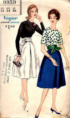 VTG 1960s VOGUE PATTERN 9959- MISSES' ELEGANT TWO-PIECE DRESS SZ. 14 BUST 36