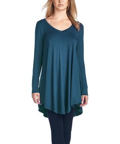 Loving this Teal V-Neck Hi-Low Tunic on #zulily! #zulilyfinds