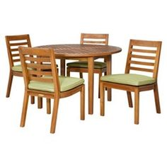 Smith & Hawken® Brooks Island 5-Piece Wood Round Dining Set - Pistachio