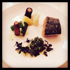 Roasted salmon, green verbena harissa