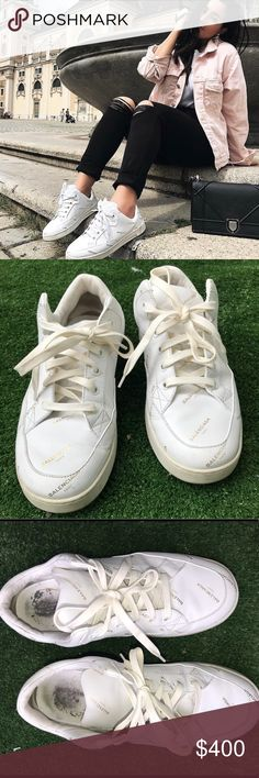 Balenciaga printed leather sneakers Balenciaga logo printed white and gold sneakers from the SS18 collection. There is visible signs of wear but they are still in good condition. These are 100% authentic and come with the box and receipt. Balenciaga Shoes Sneakers