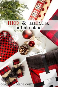 Red and Black Buffalo Plaid Christmas | Ideas and inspiration for adding this madly popular plaid to your Christmas decor | shopping guide links included!