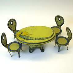 Art Nouveau Dolls house tin litho Peacock table and 4 chairs found on Ruby Lane
