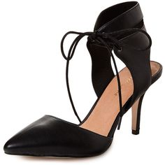 Maiden Lane Farrah Ankle Tie Pump featuring polyvore, women's fashion, shoes, pumps, heels, black, black lace up pumps, black pointed toe pumps, black leather shoes, ankle strap pumps and black high heel shoes