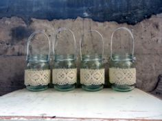 Handmade Lace Jar Lanterns.