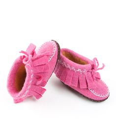 Look at this Peppercorn Kids Pink Fringe Moccasin on #zulily today!