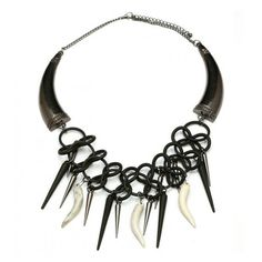 Tribal Collar Necklace With Spike And Claw Fringe ($14) ❤ liked on Polyvore featuring jewelry, necklaces, spike necklace, talon necklace, talon jewelry, spikes jewelry and claw jewelry