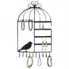 Marrywindix Birdcage Shape Wall Mount Jewelry Organizer Display Stand Rack Black