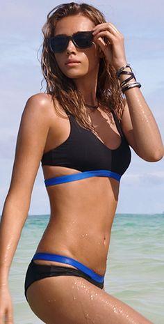 L Space 2015 Color Block Valley Girl Black Bikini | South Beach Swimsuits