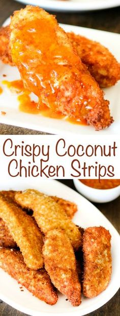Crispy Coconut Chicken Strips with Peach Curry Sauce are a great dinner solution that comes together in just a few minutes. Duck Recipes, New Recipes, Cooking Recipes, Favorite Recipes, Yummy Recipes, Chipotle Recipes, Recipies, Slow Cooking, Whole Roasted Chicken