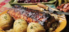 Broil King Recipe Boneless Pork Loin on the Rotisserie With Beer Sauce and Sauerkraut