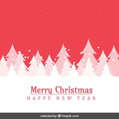 Red snowy landscape and trees Christmas card Free Vector