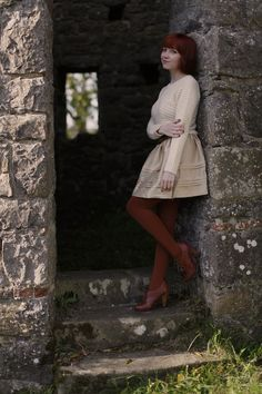 Creme - The Clothes Horse: Castles In The Sky Colored Tights, Castle In The Sky, Geek Chic, Clothes Horse, Fall Outfits, Personal Style, Pin Up, White Dress, Mini Skirts