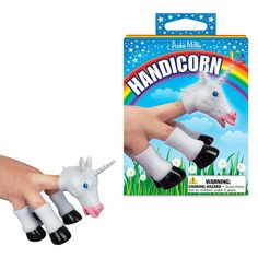 Handicorn Unicorn Vinyl Finger Puppet | Novelty Toys and Jokes | RetroPlanet.com This set of soft vinyl finger puppets comes in the shape of a unicorn head and hooves. A great stocking stuffer or gift for kids, this 5 piece set lets you put on your own miniature plays and shows featuring the famous mythical creature!
