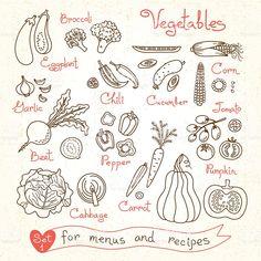 セットの図面の野菜のメニューのレシピとパッケージに、 ロイヤリティフリーのイラスト素材