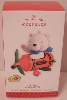 Hallmark Ornament 2013 I Can Do It Crayola NIB NEW Bear in Red Plane Christmas