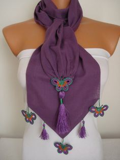 Butterfly Scarf-Anatolian Oya Scarf Hand Crocheted Lace Scarf Purple Cotton Scarf Ethnic Scarf Authentic Scarf Double Layer Cotton Scarf - Care - Skin care , beauty ideas and skin care tips Crochet Lace Scarf, Crochet Car, Crochet Clothes, Hand Crochet, Crocheted Lace, Crochet Butterfly, Butterfly Scarf, Diy Butterfly, Crochet Hair Styles
