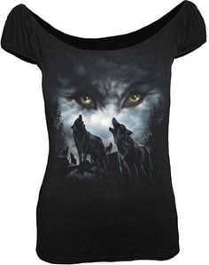 cool fitted tshirt by spiral direct. I would prolly wear size large -tabitha Spiral Direct Wolf Nights Howling Moon Pack Black Short Sleeved Gypsy Tshirt Top | eBay