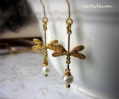 Dragonfly Earrings bridal White Gold Pearls Vintage by WhiteTeapot, $20.00