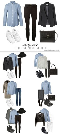 Best How To Wear Winter Outfits Capsule Wardrobe Ideas Capsule Outfits, Fashion Capsule, Mode Outfits, Capsule Wardrobe, Fashion Outfits, Womens Fashion, Wardrobe Ideas, Petite Fashion, Denim Shirt Outfits