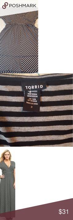 Grey & Black Striped Maxi Dress Plus Size, Torrid Size 3 torrid Dresses