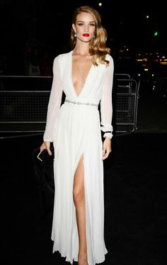 Rosie Huntington-Whiteley in a Grecian Burberry dress at the Moet & Chandon Etoile Award Ceremony