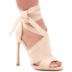 Tyra Lace Up Faux Suede Stiletto Heels in NUDE