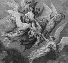 Beatrice Among Angels Purgatorio Canto 30  by SurrenderDorothy (Art & Collectibles, Prints, Etchings & Engravings, black white print, Italy Italian, Gustave Dore, Bible Biblical, man journey, Gothic Goth, Surrender dorothy, paper ephemera art, illustration weird, purgatory limbo, engraving Thirties, heaven hell, woman wing)