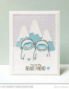 Beast Friends Stamp Set and Die-namics, Snow-Capped Mountains Die-namics, Snowfall Background, Stitched Snow Drifts Die-namics - Donna Mikasa  #mftstamps