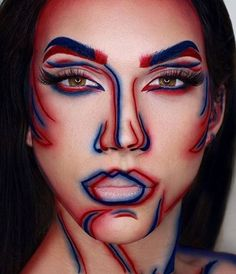 "How cool is this ""3-D"" effect makeup? This would score major creativity points on Halloween, plus when else do you have the opportunity to draw on your face with blue and red liner pencils?"