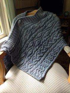 Ravelry: Ode to Skye Wrap pattern by Chris Bylsma (textured knitted poncho) Knitted Poncho, Knitted Shawls, Crochet Scarves, Love Knitting, Outlander Knitting Patterns, Easy Knitting, Modelos Fashion, Dress Gloves, Knit Patterns