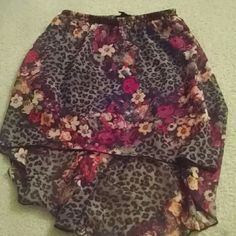 Forever 21 Skirt Cheetah print and flower print skirt, high low, from Forever 21 Forever 21 Skirts High Low