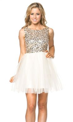 Sparkle and Shine Tulle Dress in Gold