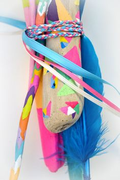 Painted Driftwood Sticks  Neon Colorful Color by bonjourfrenchie, $75.00