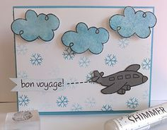My Stamping Pad: Bon voyage greeting card with blue clouds and grey airplane.