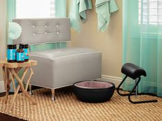 The Trio Foot Spa & FreeStanding FootRest turn our Lounge Chair into another no plumbing pedicure station!