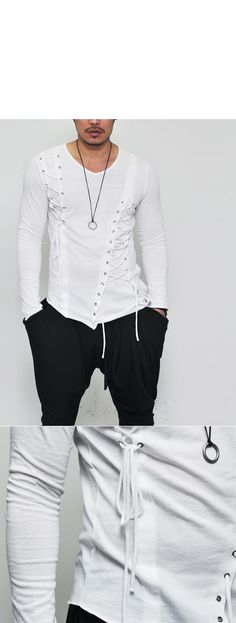 Tops :: Tees :: Edge Unbalance Eyelet V-neck-Tee 139 - Mens Fashion Clothing For An Attractive Guy Look