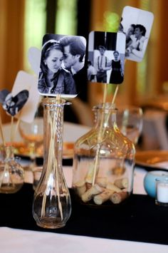 Wedding decoration, pictures in vases, handicrafts, French themed wedding in a … – Wedding Centerpieces Picture Wedding Centerpieces, Wedding Table Centerpieces, Centerpiece Ideas, Wedding Decorations Pictures, 50th Anniversary Decorations, Small Centerpieces, Centerpiece Flowers, Wedding Tables, Rehearsal Dinner Decorations