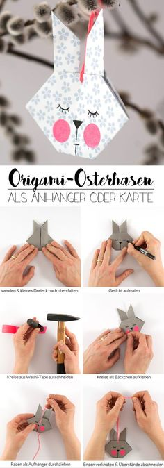 DIY Origami Easter Bunny - as a pendant or greeting card, In two weeks is Easter - high time to quickly make some cute greeting cards or cute pendants for the Easter bouquet! The little origami bunnies are fo. Bunny Origami, Origami Diy, Origami Simple, Origami Butterfly, Origami Flowers, Origami Paper, Origami Ribbon, Origami Wallet, Origami Ideas